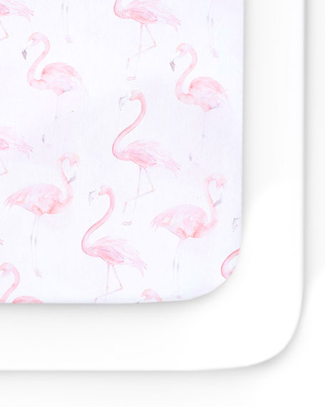 Oilo Studio Flamingo Jersey Standard Crib Sheet, 2