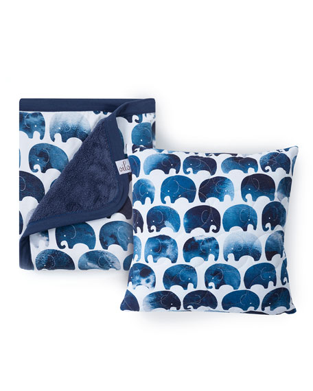 Elephant Quilted Pillow & Cuddle Blanket Set