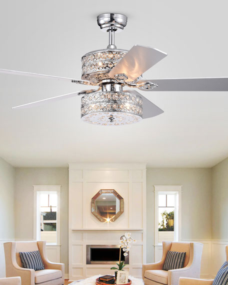 Crystal Embedded Metal Chandelier Ceiling Fan