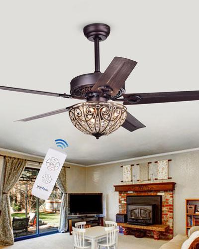 Crystal Woven Bronze Chandelier Ceiling Fan