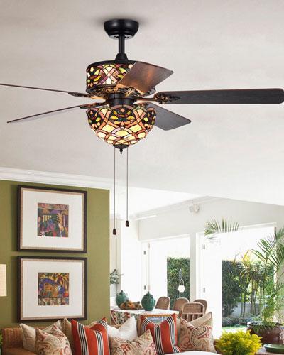 Kalsti Glass Chandelier Ceiling Fan