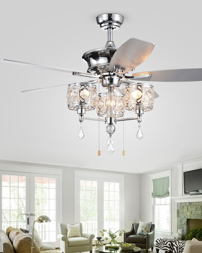 Miramis Crystal Chandelier Ceiling Fan