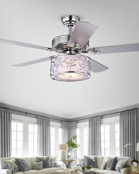 Crystal Leaf & Metal Branch Chandelier Ceiling Fan