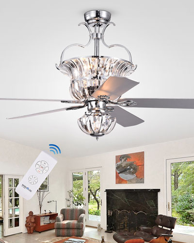 Crystal Accented Chandelier Ceiling Fan