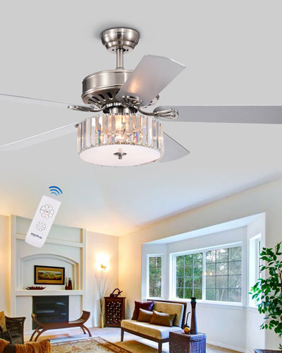 Crystal Slab Chandelier Ceiling Fan