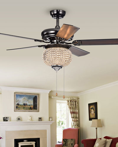 Priteen II Crystal Bowl Chandelier Ceiling Fan