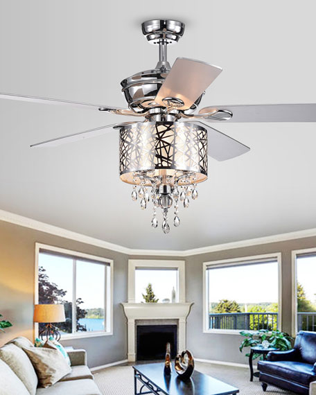 Chrome Tiered Crystal Chandelier Ceiling Fan