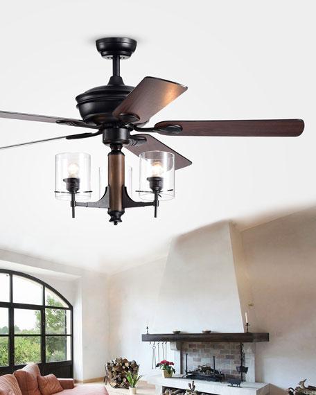 Glass Pillar Chandelier Ceiling Fan