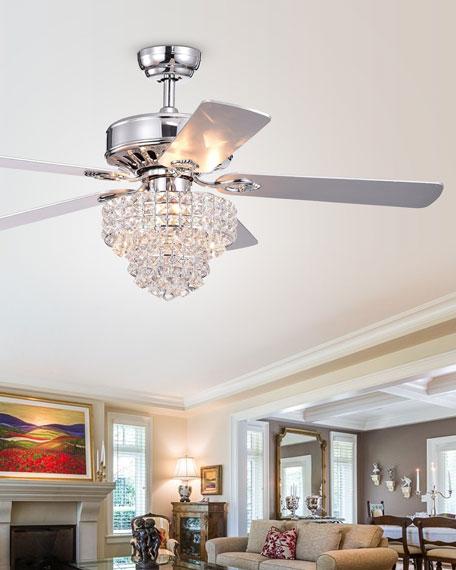 Tiered Crystal Chandelier Ceiling Fan