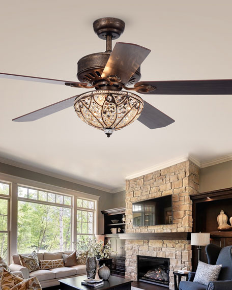 Home Accessories Speckled Bronze Crystal Chandelier Ceiling Fan