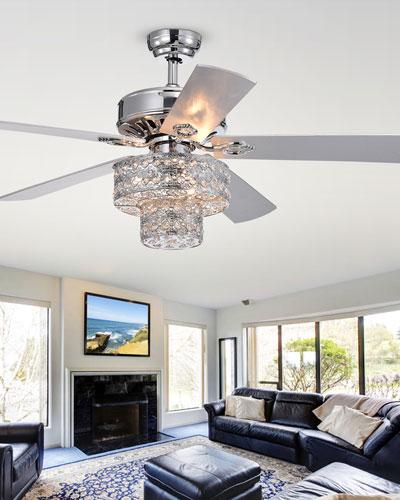 Two-Tier Embedded Crystal Chandelier Ceiling Fan