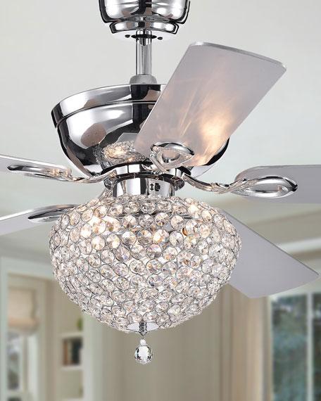 Crystal Embedded Chandelier Ceiling Fan