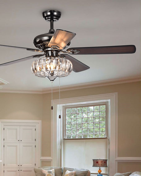 Home Accessories Curved Crystal Chandelier Ceiling Fan