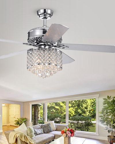 Deidor Flower-Shaped Metalwork & Crystal Chandelier Ceiling Fan