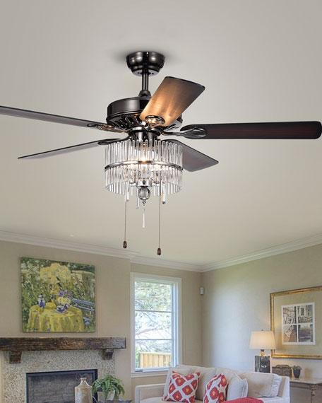 Black Chrome Crystal Chandelier Ceiling Fan