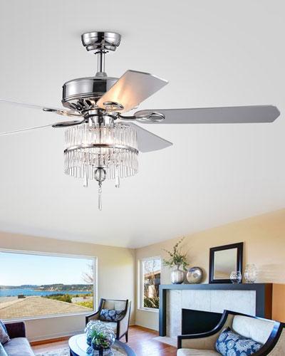 Stacked Crystal Baguette Chandelier Ceiling Fan