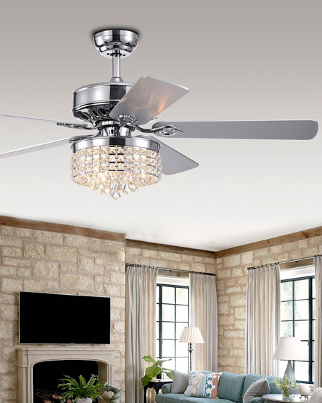 Crystal Dome Chandelier Ceiling Fan