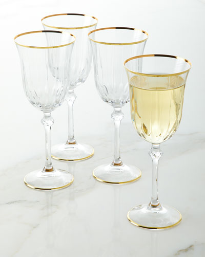 Wine Goblets with Golden Finish  Set of 4