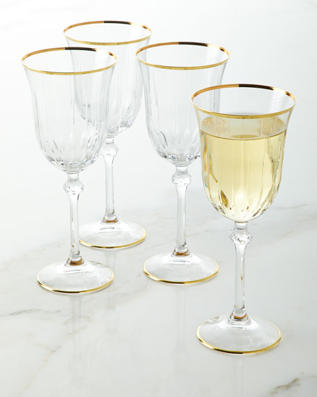Neiman Marcus Wine Goblets with Golden Finish, Set