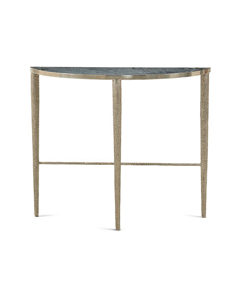 Hammered Nickel Demi Console Table