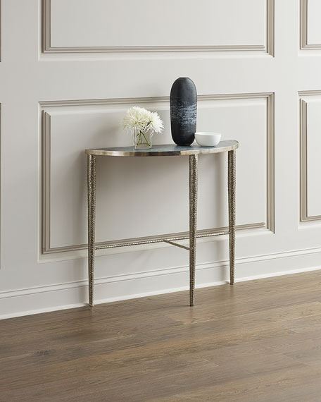 Global Views Hammered Nickel Demi Console Table