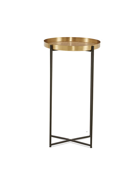 Antiqued Brass Etched Accent Table