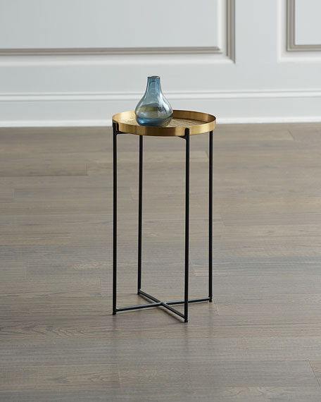 Global Views Antiqued Brass Etched Accent Table