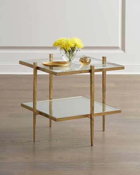 Laforge Antiqued Gold End Table
