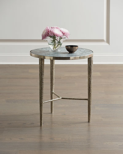 Hammered Nickel Marble-Top End Table