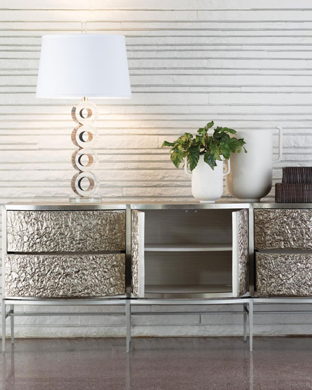 Crinkle Silver Floating Console