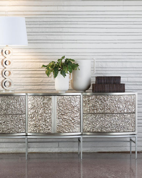 Global Views Crinkle Silver Floating Console