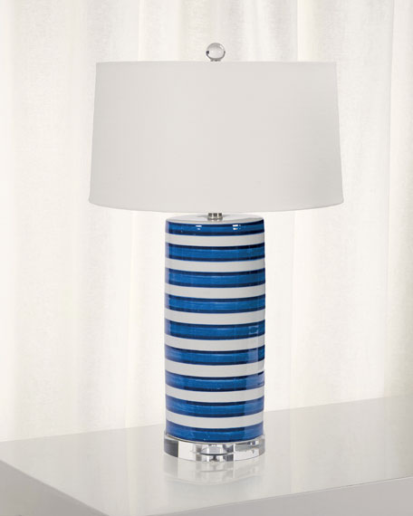 Striped Ceramic Column Table Lamp