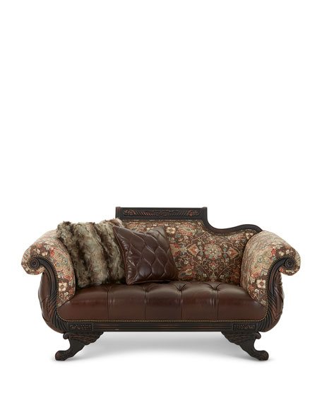Andreas Leather Tufted Settee