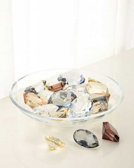 Global Views Diamond Bowl with 18 Assorted Jewels