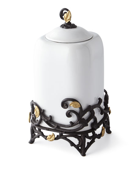 White Stoneware Large Canister with Metal Gold Leaf Base