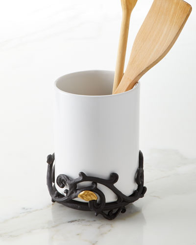 White Stoneware Utensil Holder with Metal Gold Leaf Base