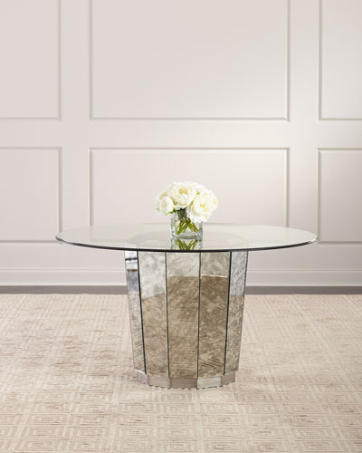 Fae Antiqued Mirror & Glass Dining Table