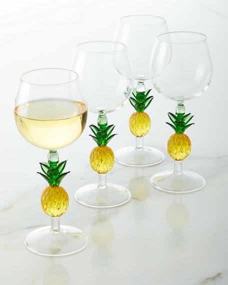 Pineapple Stem Wine Glasses, Set of 4