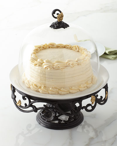 Metal Gold Leaf Cake Pedestal