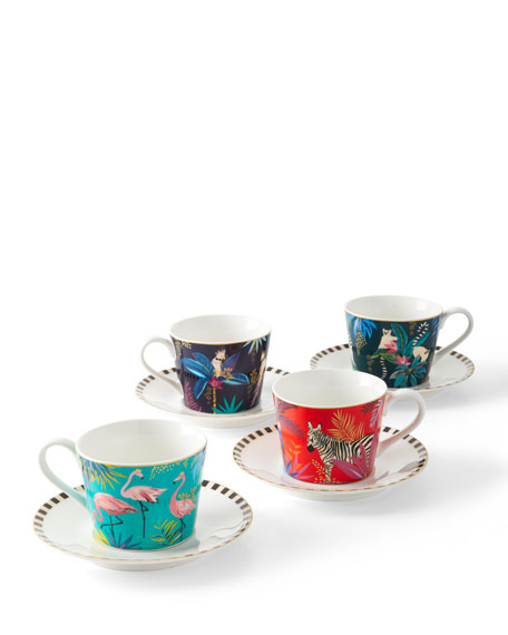 Sara Miller Assorted Mugs & Saucers, Set of