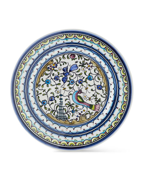 Pavoes Blue and Green Dinner Plates, Set of 4