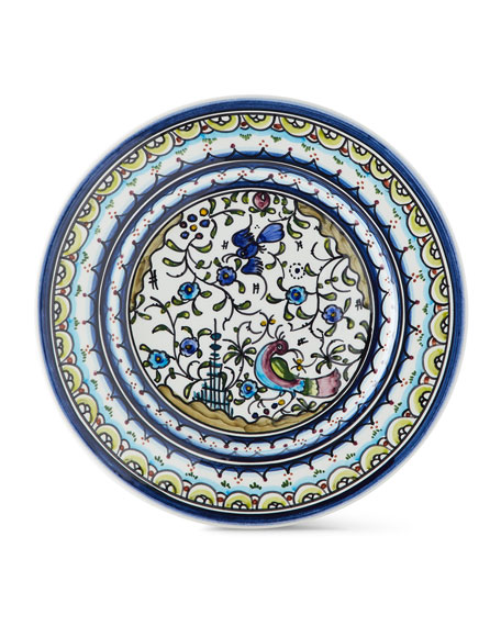 Keramos Nazari Pavoes Blue and Green Salad Plates,