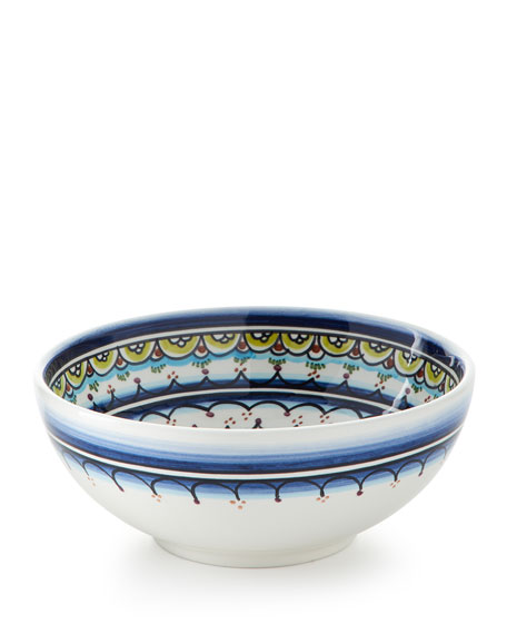 Keramos Nazari Pavoes Blue Green Cereal Bowls, Set