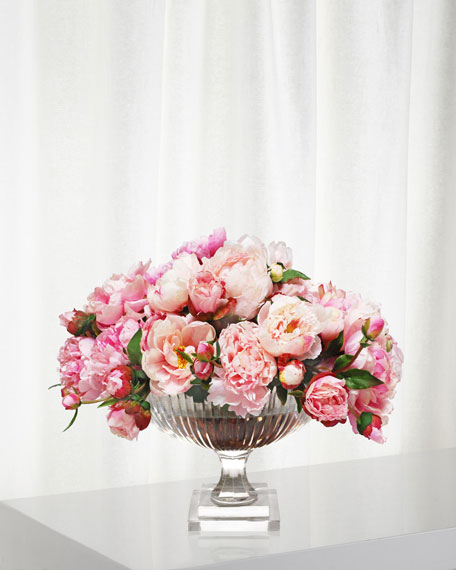 Mix Peony in Large Stripe Cut Bowl