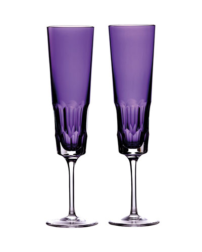 Pair of Icon Champagne Flutes  Amethyst
