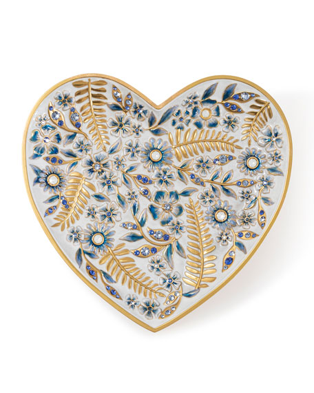 Jay Strongwater Indigo Floral Heart Trinket Tray