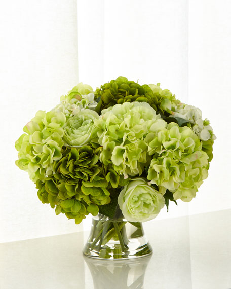 John-Richard Collection Shades of Green Hydrangea Arrangement