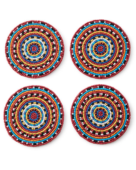 Glass Beaded Coasters, Set of 4