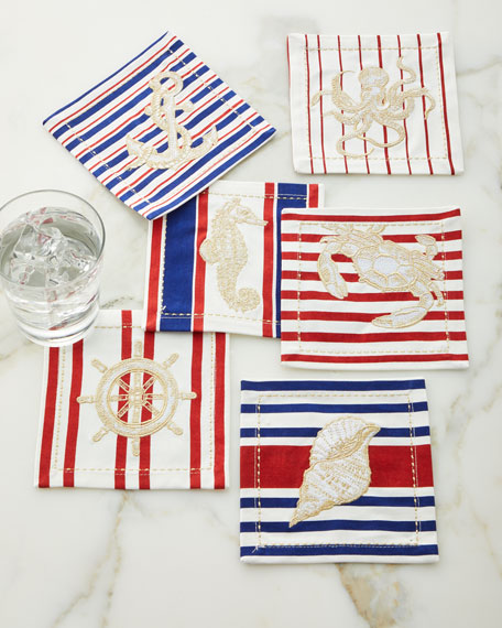 Kim Seybert Maritime Cocktail Napkins, Set of 6