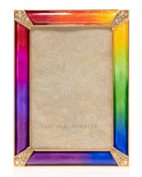 Jay Strongwater Rainbow Pave Corner Frame, 4